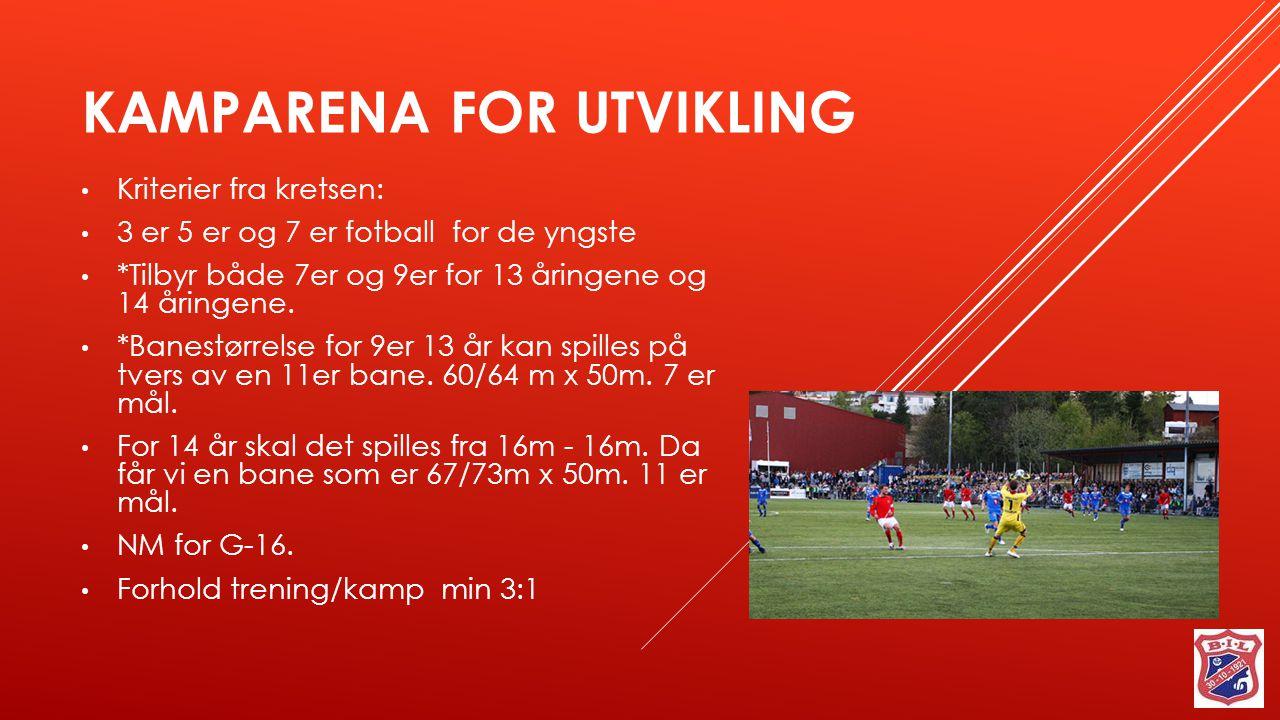 KAMPARENA FOR UTVIKLING Kriterier fra kretsen: 3 er 5 er og 7 er fotball for de yngste *Tilbyr både 7er og 9er for 13 åringene og 14 åringene. *Banest