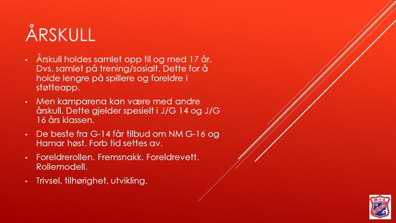 ÅRSKULL Årskull holdes samlet opp til og med 17 år.