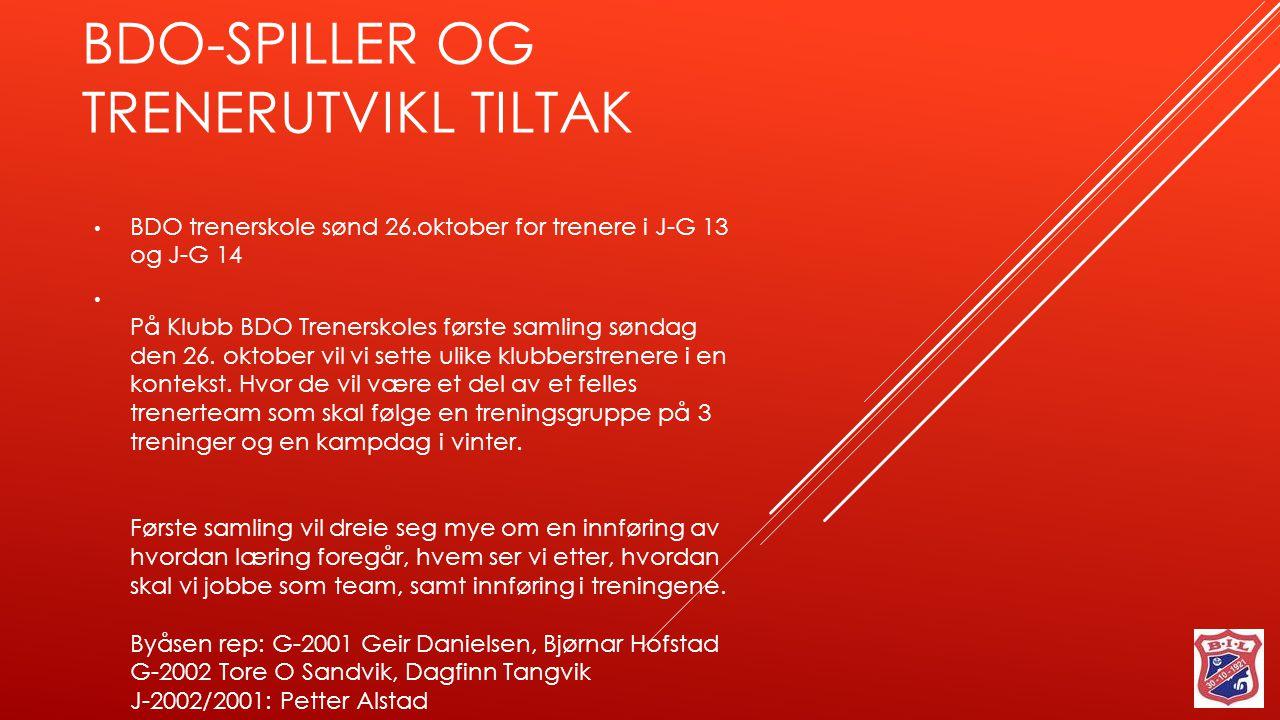 BDO trenerskole sønd 26.oktober for trenere i J-G 13 og J-G 14 På Klubb BDO Trenerskoles første samling søndag den 26.