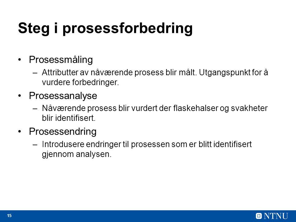 15 Steg i prosessforbedring Prosessmåling –Attributter av nåværende prosess blir målt. Utgangspunkt for å vurdere forbedringer. Prosessanalyse –Nåvære