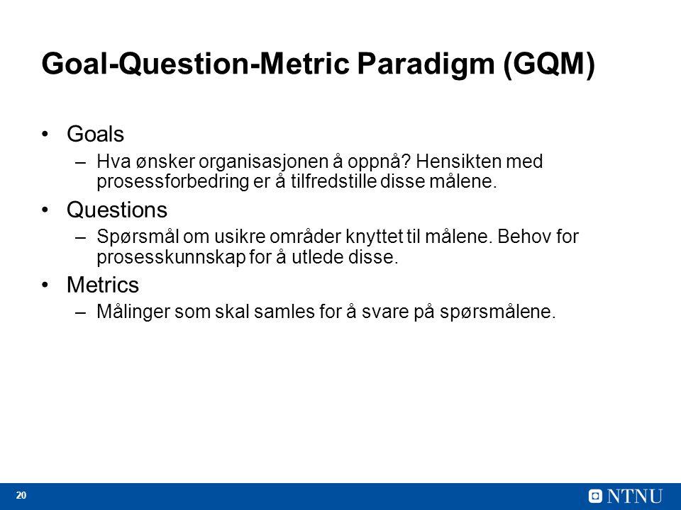20 Goal-Question-Metric Paradigm (GQM) Goals –Hva ønsker organisasjonen å oppnå? Hensikten med prosessforbedring er å tilfredstille disse målene. Ques