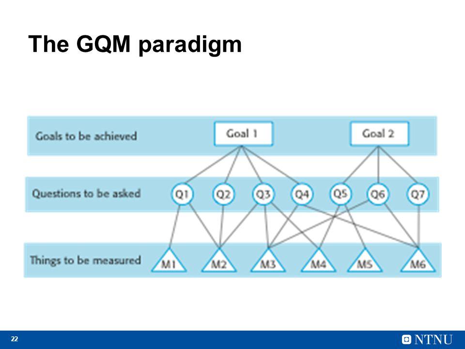 22 The GQM paradigm