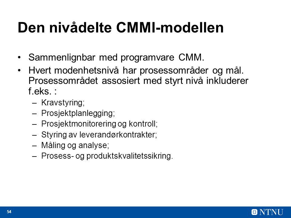 54 Den nivådelte CMMI-modellen Sammenlignbar med programvare CMM. Hvert modenhetsnivå har prosessområder og mål. Prosessområdet assosiert med styrt ni