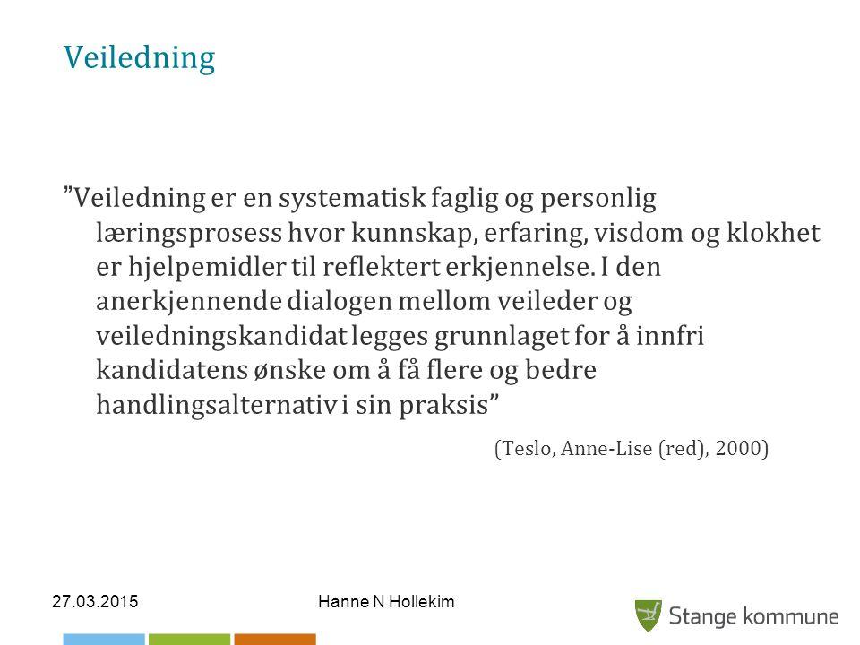 """27.03.2015Hanne N Hollekim Veiledning """" Veiledning er en systematisk faglig og personlig læringsprosess hvor kunnskap, erfaring, visdom og klokhet er"""