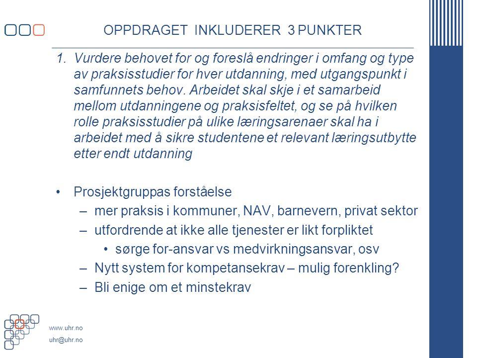 www.uhr.no uhr@uhr.no OPPDRAGET INKLUDERER 3 PUNKTER 1.Vurdere behovet for og foreslå endringer i omfang og type av praksisstudier for hver utdanning, med utgangspunkt i samfunnets behov.