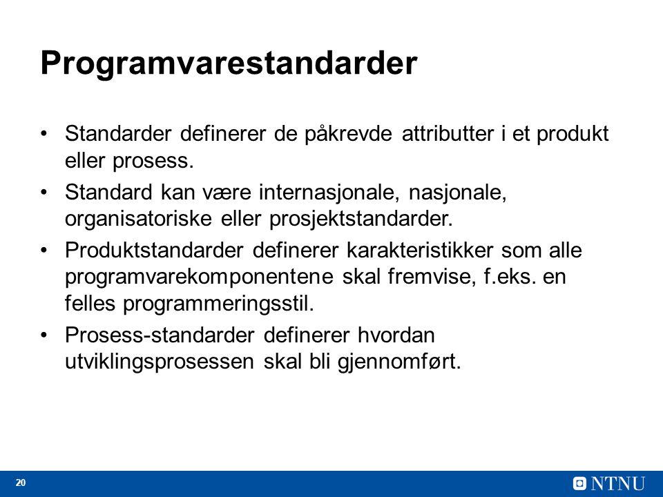 20 Programvarestandarder Standarder definerer de påkrevde attributter i et produkt eller prosess. Standard kan være internasjonale, nasjonale, organis