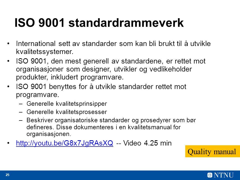 25 ISO 9001 standardrammeverk International sett av standarder som kan bli brukt til å utvikle kvalitetssystemer. ISO 9001, den mest generell av stand