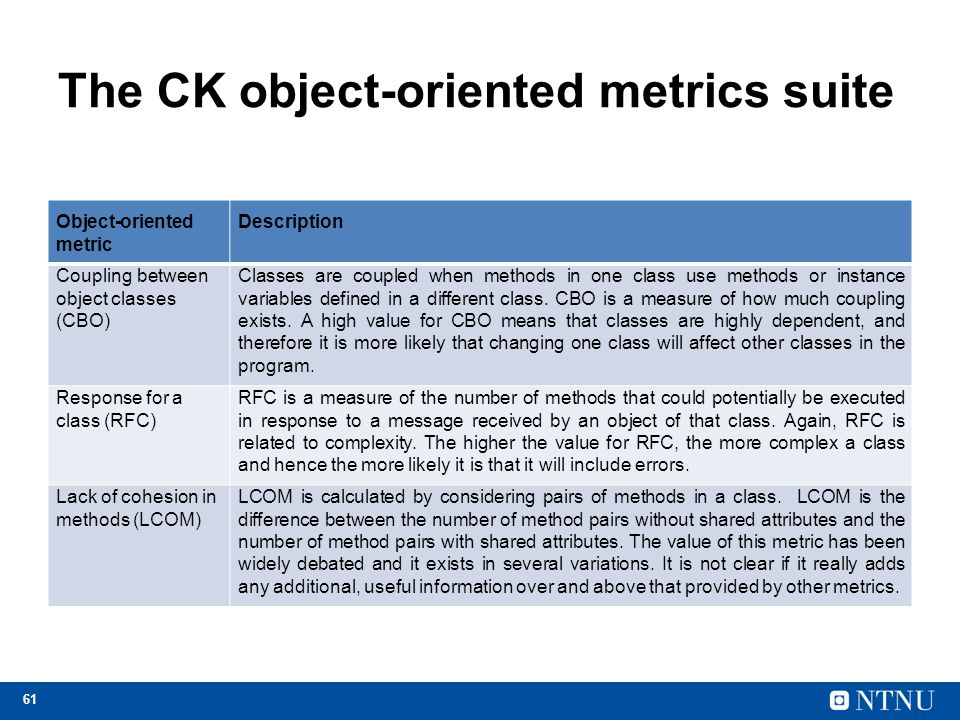 61 The CK object-oriented metrics suite Object-oriented metric Description Coupling between object classes (CBO) Classes are coupled when methods in one class use methods or instance variables defined in a different class.