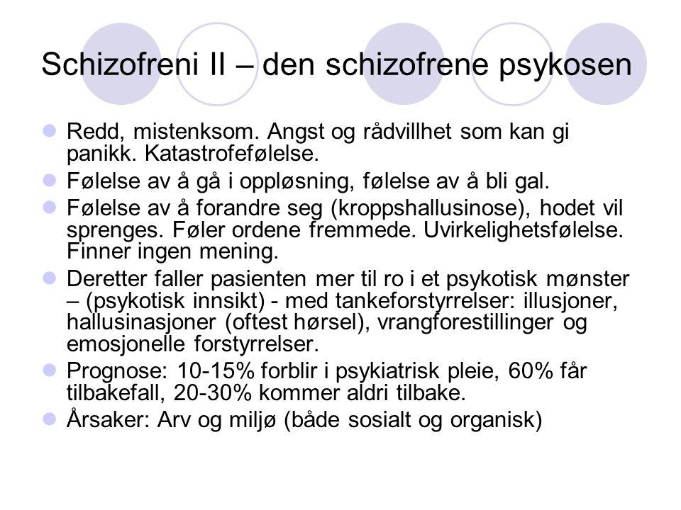 Schizofreni II – den schizofrene psykosen Redd, mistenksom. Angst og rådvillhet som kan gi panikk. Katastrofefølelse. Følelse av å gå i oppløsning, fø