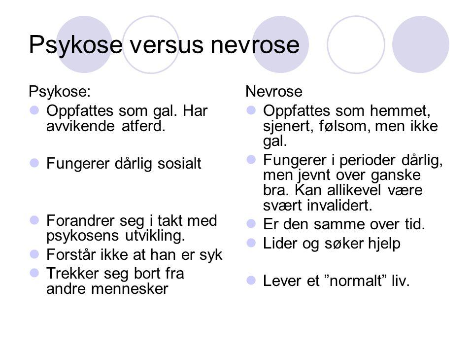 Psykose versus nevrose Psykose: Oppfattes som gal. Har avvikende atferd. Fungerer dårlig sosialt Forandrer seg i takt med psykosens utvikling. Forstår