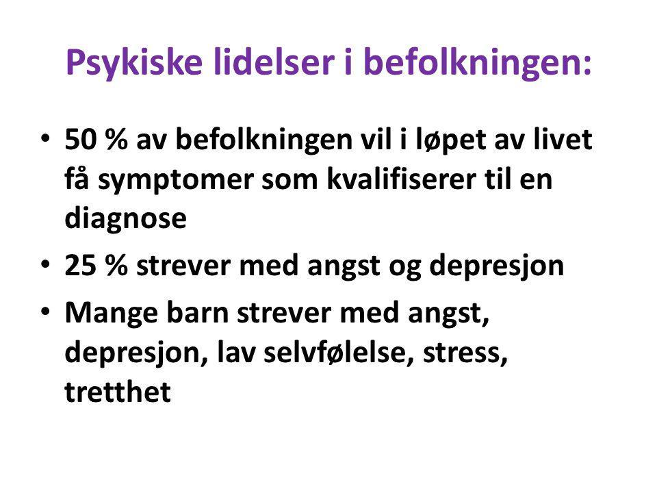 Psykiske lidelser i befolkningen: 50 % av befolkningen vil i løpet av livet få symptomer som kvalifiserer til en diagnose 25 % strever med angst og de