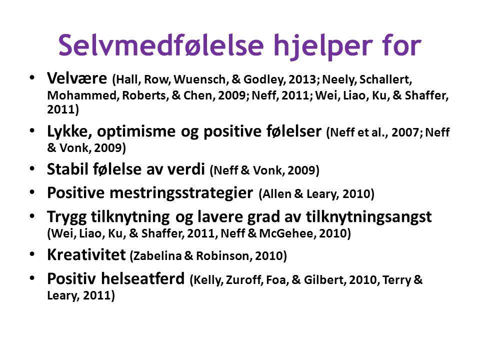 Selvmedfølelse hjelper for Velvære (Hall, Row, Wuensch, & Godley, 2013; Neely, Schallert, Mohammed, Roberts, & Chen, 2009; Neff, 2011; Wei, Liao, Ku,