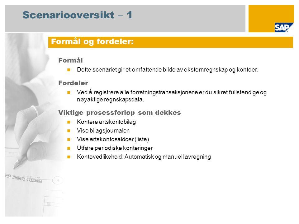 Scenariooversikt – 2 Obligatorisk SAP enhancement package 4 for SAP ERP 6.0 Brukerroller involvert i prosessforløp Regnskapsfører for hovedbok Økonomisjef SAP-applikasjoner som kreves: