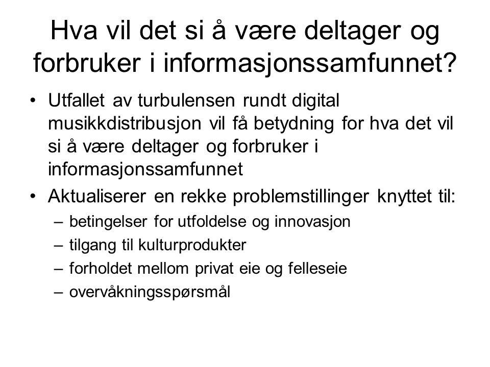 Prosjektdesign PANDORAS iPOD BRANSJESTUDIE DEN BREDE BRANSJESTUDIEN Musikkindustri IT, tele, elektronikk- bransje Rettssakene (Johnsen) STANDARISERING AV LYD: ESTETIKK OG POLITIKK (Tiller) Ved/ nær NTNU I industrien Innovasjon i produksjon og markedsføring (Bøthun) BRUKERSTUDIE STUDIE AV ORDINÆR UNGDOM Ungdomsskole Videregående Universitet/ høyskole STUDIE AV SPESIELLE BRUKERE Åpen kildekode vs.