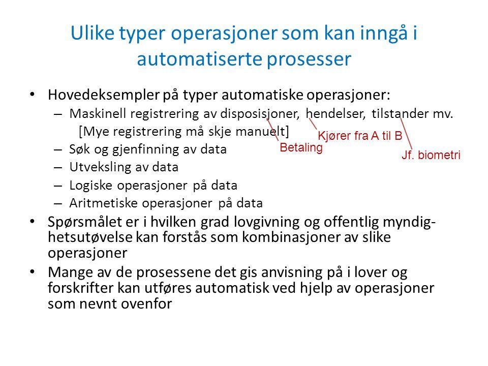 Ulike typer operasjoner som kan inngå i automatiserte prosesser Hovedeksempler på typer automatiske operasjoner: – Maskinell registrering av disposisj