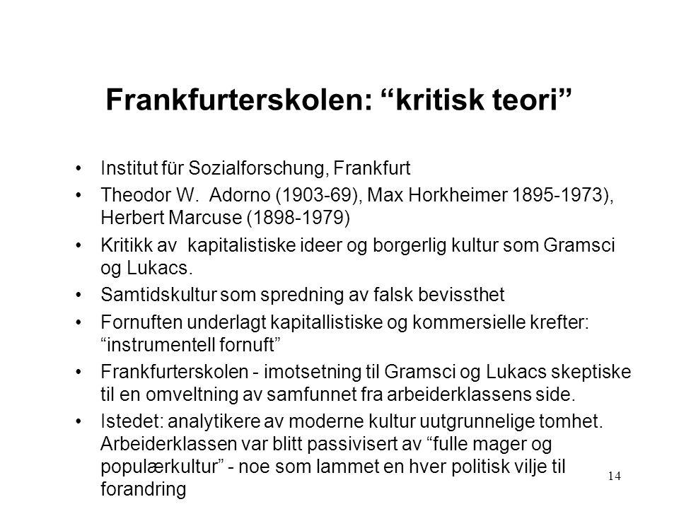 "14 Frankfurterskolen: ""kritisk teori"" Institut für Sozialforschung, Frankfurt Theodor W. Adorno (1903-69), Max Horkheimer 1895-1973), Herbert Marcuse"