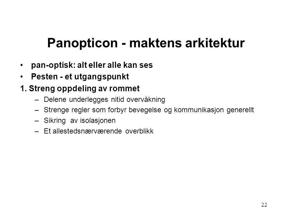 22 Panopticon - maktens arkitektur pan-optisk: alt eller alle kan ses Pesten - et utgangspunkt 1. Streng oppdeling av rommet –Delene underlegges nitid