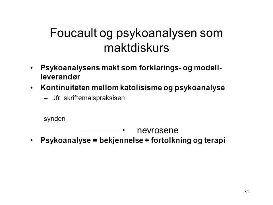 32 Foucault og psykoanalysen som maktdiskurs Psykoanalysens makt som forklarings- og modell- leverandør Kontinuiteten mellom katolisisme og psykoanaly