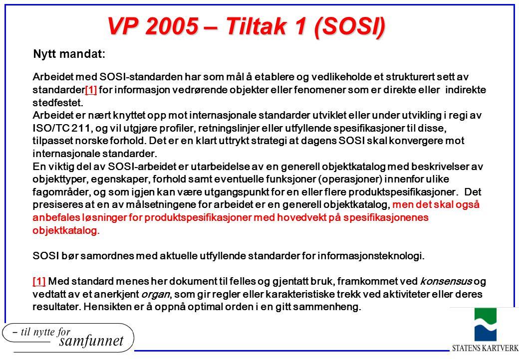 VP 2005 – Tiltak 1 (SOSI) Nytt mandat: Arbeidet med SOSI-standarden har som mål å etablere og vedlikeholde et strukturert sett av standarder[1] for in