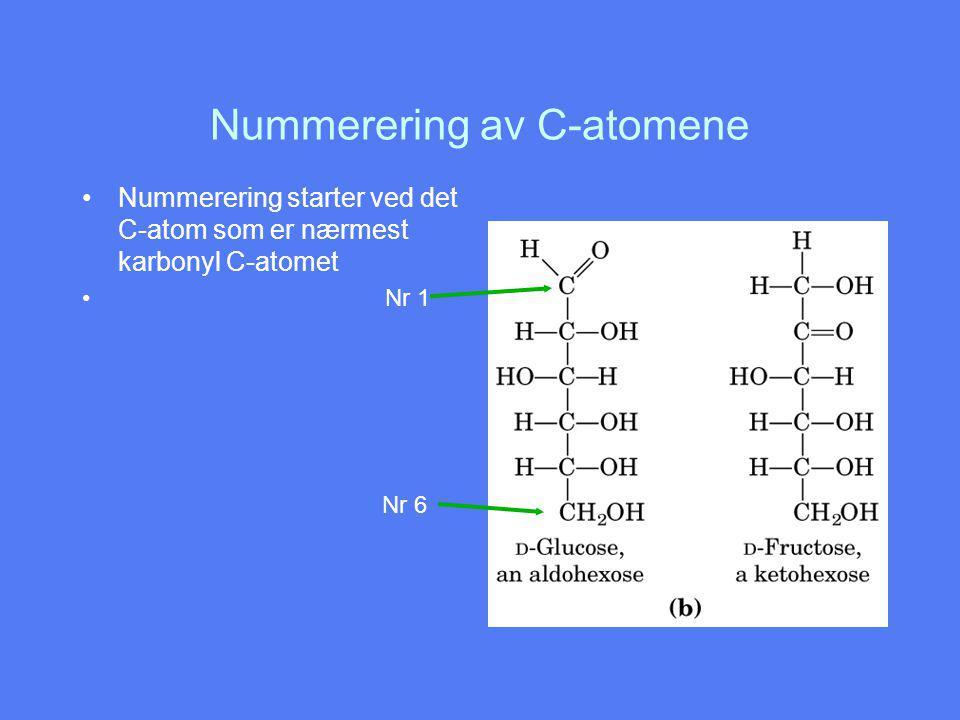 Nummerering av C-atomene Nummerering starter ved det C-atom som er nærmest karbonyl C-atomet Nr 1 Nr 6