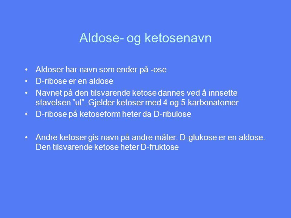 Aldose- og ketosenavn Aldoser har navn som ender på -ose D-ribose er en aldose Navnet på den tilsvarende ketose dannes ved å innsette stavelsen ul .