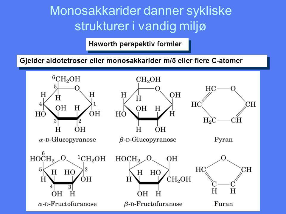 Monosakkarider danner sykliske strukturer i vandig miljø Haworth perspektiv formler Gjelder aldotetroser eller monosakkarider m/5 eller flere C-atomer