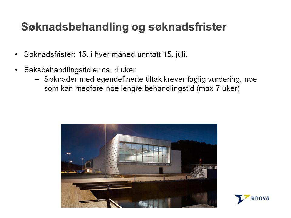 Programkriterier Søknader med energireduksjonstiltak: –minst 10 % energibesparelse.