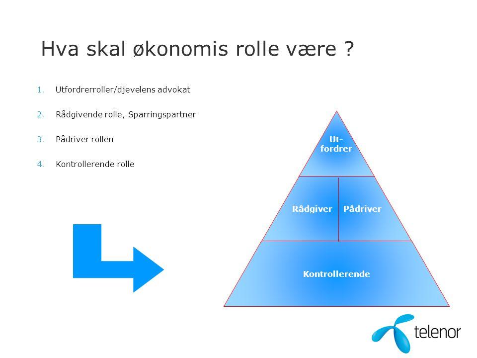 Kontrollerende rolle Sikre at gjeldende regelverk (lover og policy Telenor) følges Internkontroll, SOX, fullmakter…etc Sikre korrekt og rettidig regnskapsførsel og rapportering Resultat, balanse, KPI, prognose, prosjekter Inntekts- og kostnadskontroll, herunder markedsutvikling, årsverk, …… Kontrollere at beslutninger og utvikling er i tråd med gjeldende strategi Synliggjøre risiko-bilde - NO SUPRISES!