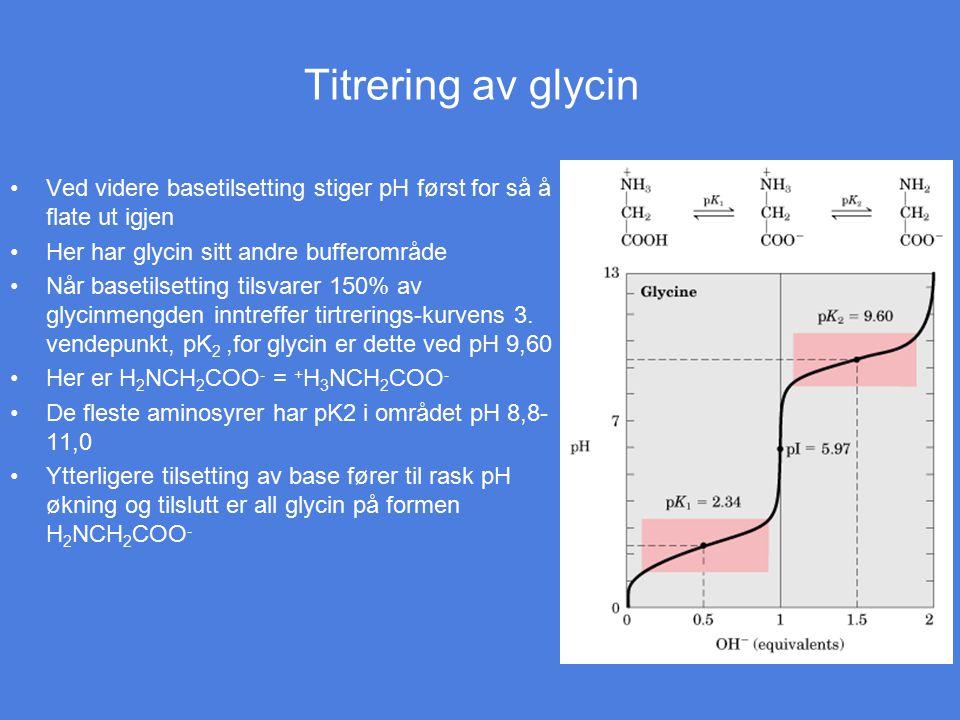 Titrering av glycin Ved videre basetilsetting stiger pH først for så å flate ut igjen Her har glycin sitt andre bufferområde Når basetilsetting tilsva