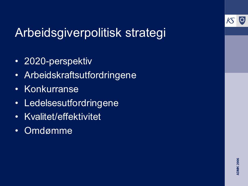 ADMK 2006 Arbeidsgiverpolitisk strategi 2020-perspektiv Arbeidskraftsutfordringene Konkurranse Ledelsesutfordringene Kvalitet/effektivitet Omdømme