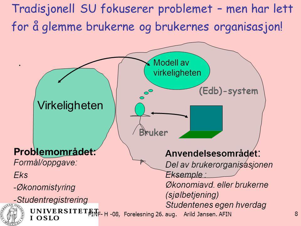 FINF- H -08, Forelesning 26. aug. Arild Jansen. AFIN 8 Tradisjonell SU fokuserer problemet – men har lett for å glemme brukerne og brukernes organisas