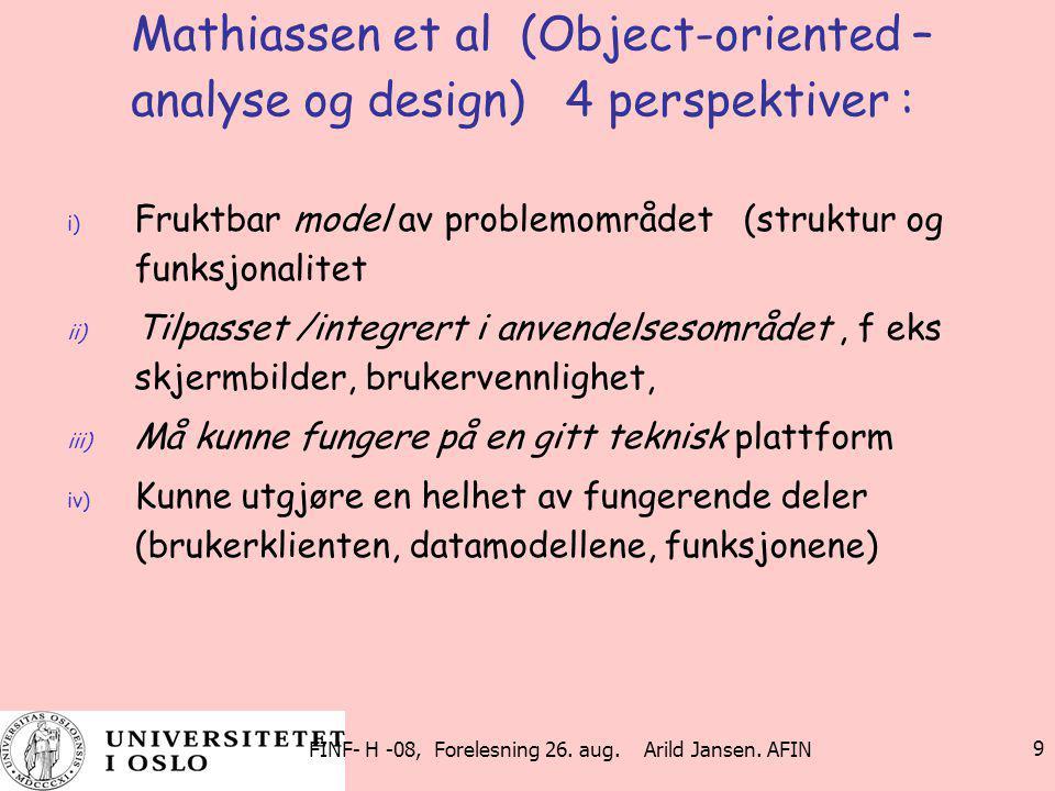 FINF- H -08, Forelesning 26. aug. Arild Jansen. AFIN 9 Mathiassen et al (Object-oriented – analyse og design) 4 perspektiver : i) Fruktbar model av pr