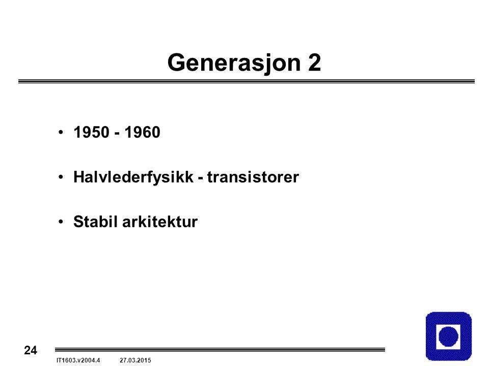24 IT1603.v2004.4 27.03.2015 Generasjon 2 1950 - 1960 Halvlederfysikk - transistorer Stabil arkitektur