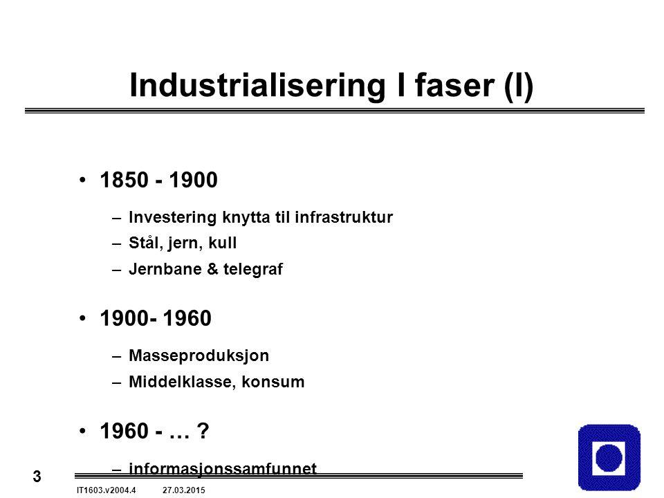 3 IT1603.v2004.4 27.03.2015 Industrialisering I faser (I) 1850 - 1900 –Investering knytta til infrastruktur –Stål, jern, kull –Jernbane & telegraf 1900- 1960 –Masseproduksjon –Middelklasse, konsum 1960 - … .