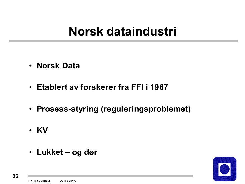 32 IT1603.v2004.4 27.03.2015 Norsk dataindustri Norsk Data Etablert av forskerer fra FFI i 1967 Prosess-styring (reguleringsproblemet) KV Lukket – og dør