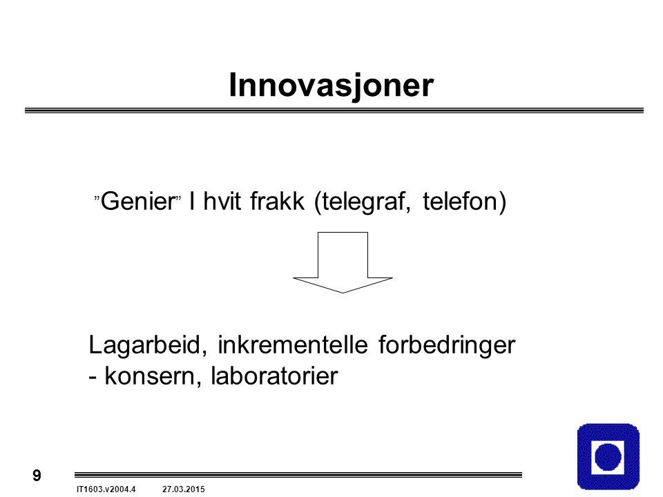 9 IT1603.v2004.4 27.03.2015 Innovasjoner Genier I hvit frakk (telegraf, telefon) Lagarbeid, inkrementelle forbedringer - konsern, laboratorier