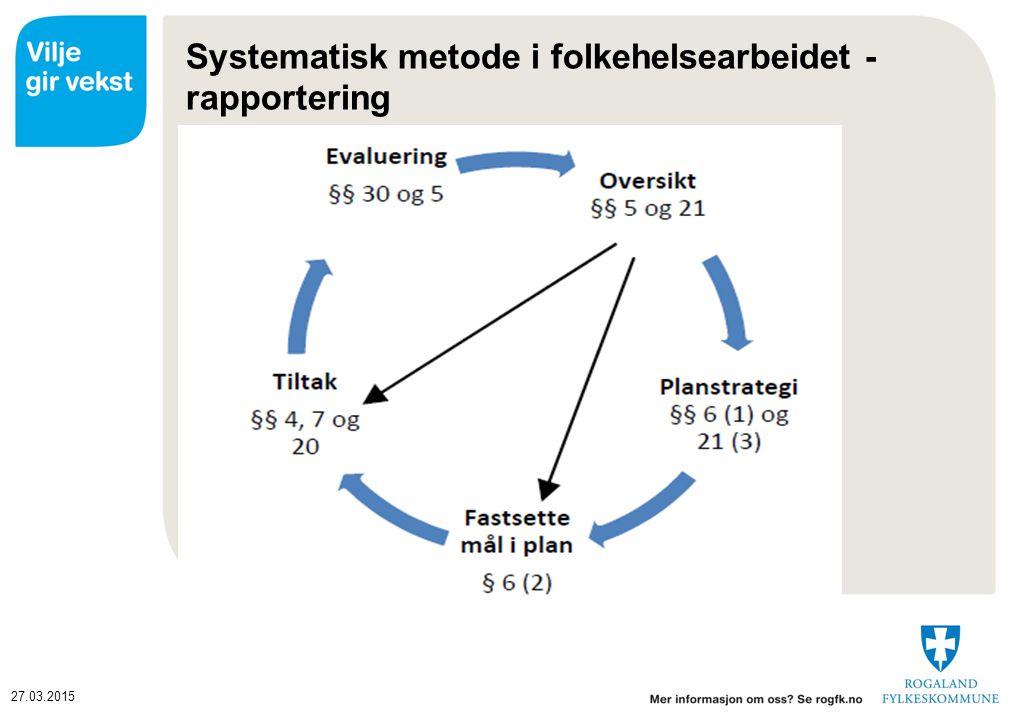 27.03.2015 Systematisk metode i folkehelsearbeidet - rapportering