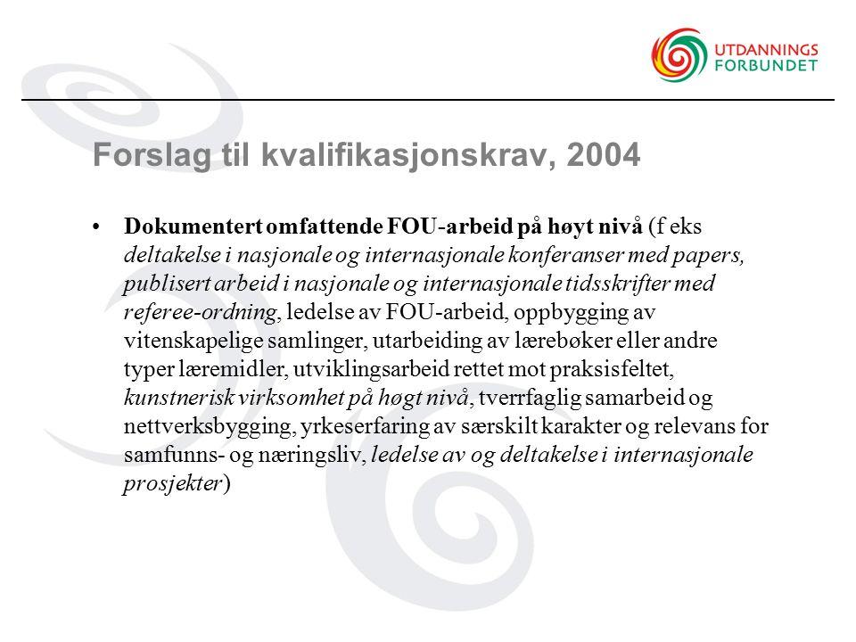Forslag til kvalifikasjonskrav, 2004 Dokumentert omfattende FOU-arbeid på høyt nivå (f eks deltakelse i nasjonale og internasjonale konferanser med pa