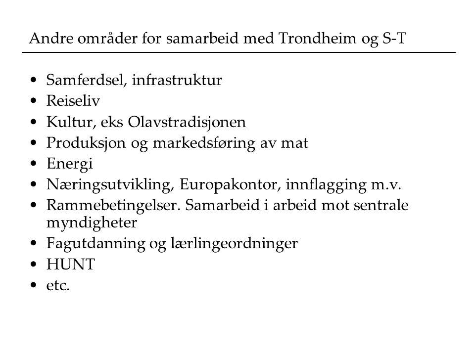 Andre områder for samarbeid med Trondheim og S-T Samferdsel, infrastruktur Reiseliv Kultur, eks Olavstradisjonen Produksjon og markedsføring av mat Energi Næringsutvikling, Europakontor, innflagging m.v.
