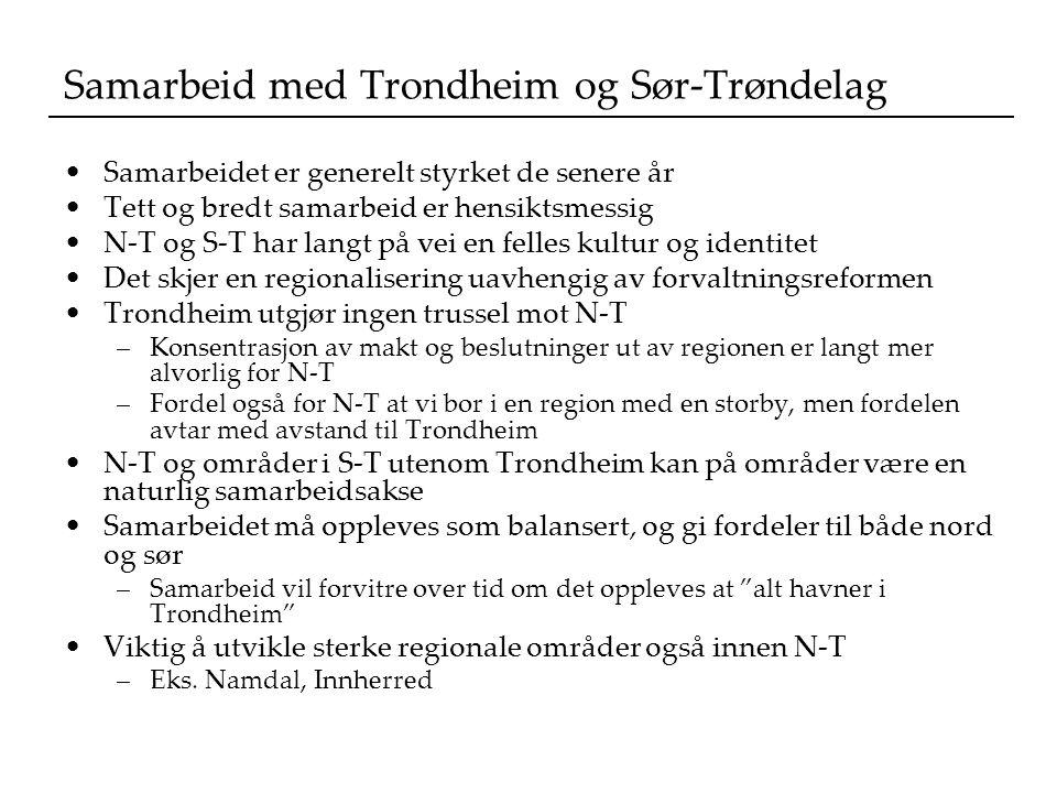 Samarbeid med Trondheim og Sør-Trøndelag Samarbeidet er generelt styrket de senere år Tett og bredt samarbeid er hensiktsmessig N-T og S-T har langt på vei en felles kultur og identitet Det skjer en regionalisering uavhengig av forvaltningsreformen Trondheim utgjør ingen trussel mot N-T –Konsentrasjon av makt og beslutninger ut av regionen er langt mer alvorlig for N-T –Fordel også for N-T at vi bor i en region med en storby, men fordelen avtar med avstand til Trondheim N-T og områder i S-T utenom Trondheim kan på områder være en naturlig samarbeidsakse Samarbeidet må oppleves som balansert, og gi fordeler til både nord og sør –Samarbeid vil forvitre over tid om det oppleves at alt havner i Trondheim Viktig å utvikle sterke regionale områder også innen N-T –Eks.