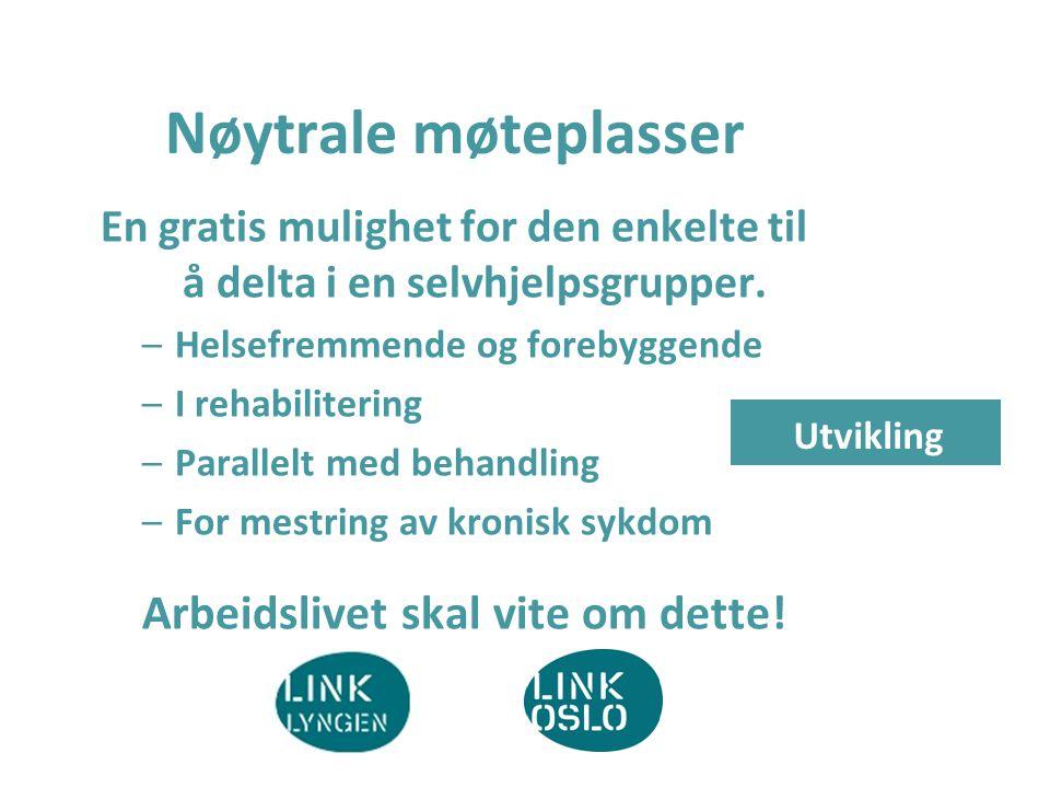 Nøytrale møteplasser En gratis mulighet for den enkelte til å delta i en selvhjelpsgrupper. –Helsefremmende og forebyggende –I rehabilitering –Paralle