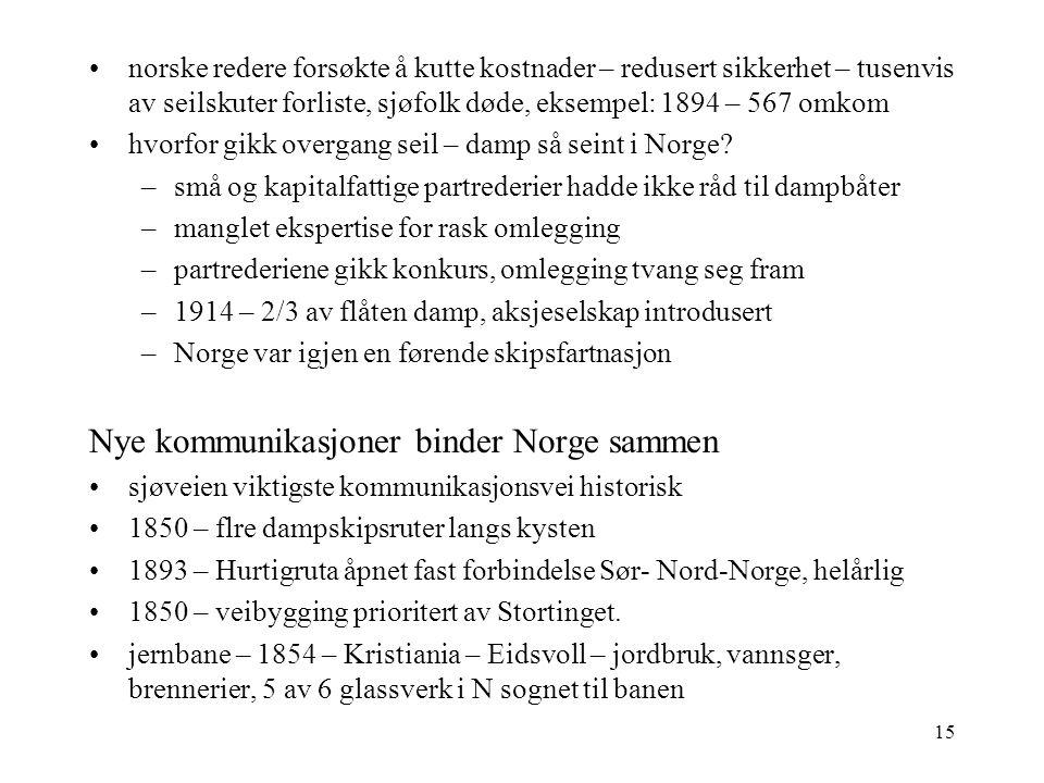 15 norske redere forsøkte å kutte kostnader – redusert sikkerhet – tusenvis av seilskuter forliste, sjøfolk døde, eksempel: 1894 – 567 omkom hvorfor gikk overgang seil – damp så seint i Norge.