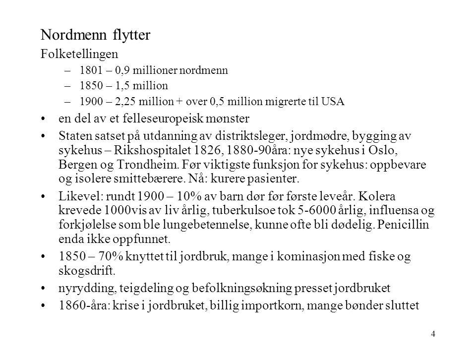 4 Nordmenn flytter Folketellingen –1801 – 0,9 millioner nordmenn –1850 – 1,5 million –1900 – 2,25 million + over 0,5 million migrerte til USA en del av et felleseuropeisk mønster Staten satset på utdanning av distriktsleger, jordmødre, bygging av sykehus – Rikshospitalet 1826, 1880-90åra: nye sykehus i Oslo, Bergen og Trondheim.