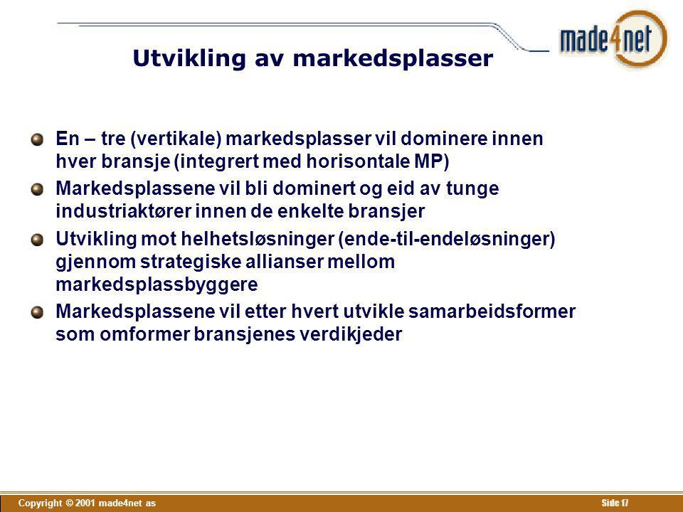 Copyright © 2001 made4net as Side 17 Utvikling av markedsplasser En – tre (vertikale) markedsplasser vil dominere innen hver bransje (integrert med ho