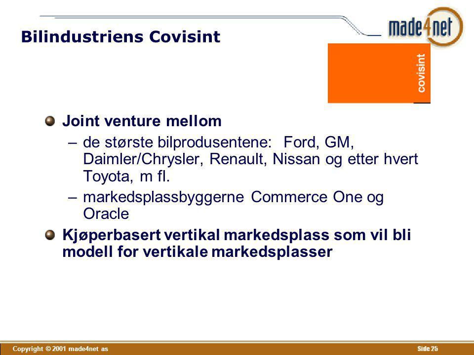Copyright © 2001 made4net as Side 25 Bilindustriens Covisint Joint venture mellom –de største bilprodusentene: Ford, GM, Daimler/Chrysler, Renault, Ni