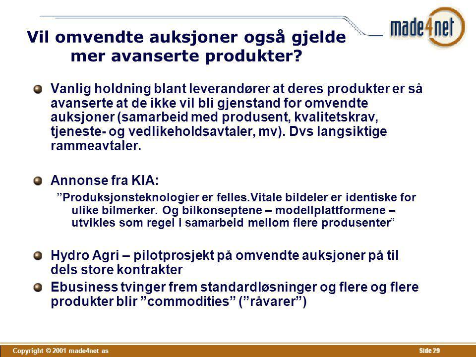 Copyright © 2001 made4net as Side 29 Vil omvendte auksjoner også gjelde mer avanserte produkter? Vanlig holdning blant leverandører at deres produkter