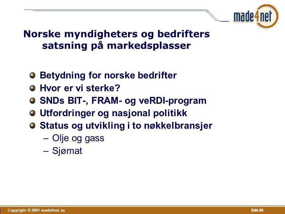 Copyright © 2001 made4net as Side 30 Norske myndigheters og bedrifters satsning på markedsplasser Betydning for norske bedrifter Hvor er vi sterke? SN