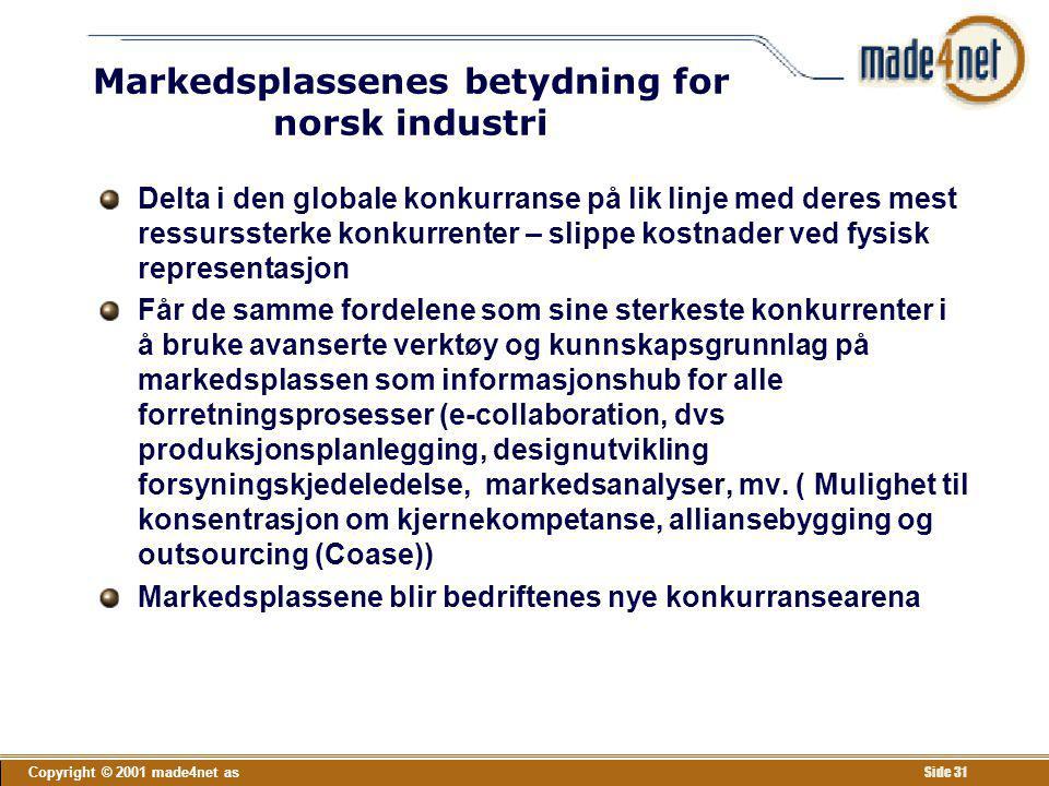 Copyright © 2001 made4net as Side 31 Markedsplassenes betydning for norsk industri Delta i den globale konkurranse på lik linje med deres mest ressurs