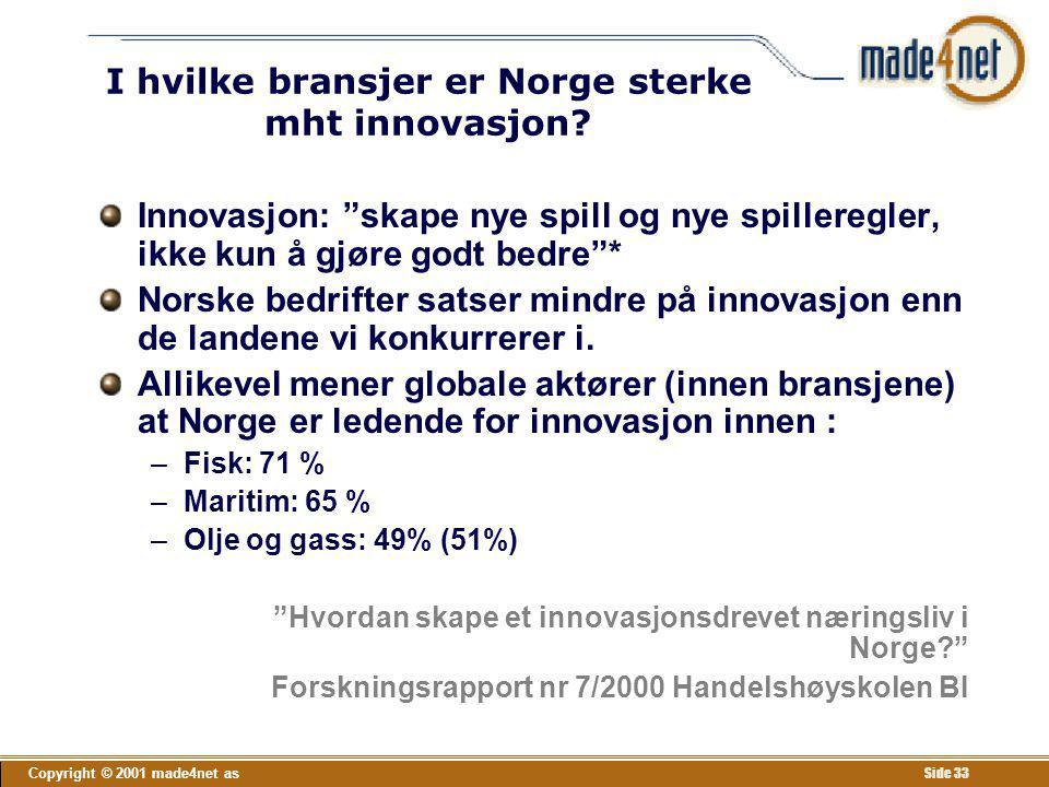 """Copyright © 2001 made4net as Side 33 I hvilke bransjer er Norge sterke mht innovasjon? Innovasjon: """"skape nye spill og nye spilleregler, ikke kun å gj"""