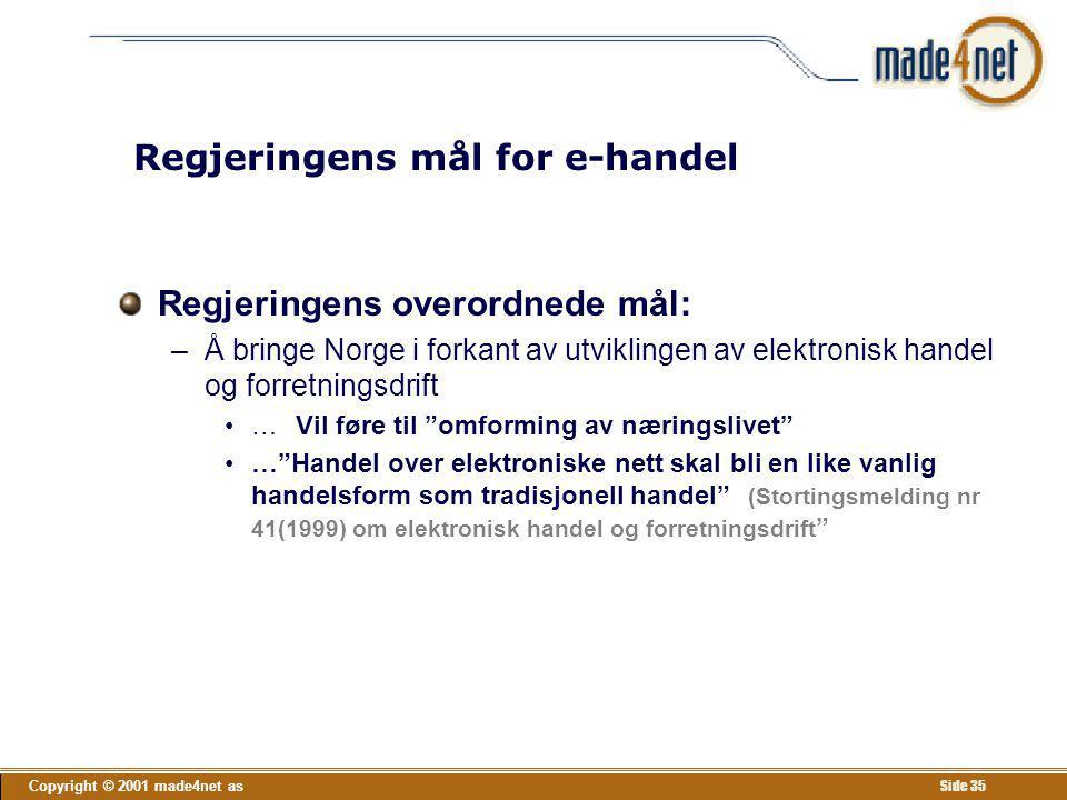 Copyright © 2001 made4net as Side 35 Regjeringens mål for e-handel Regjeringens overordnede mål: –Å bringe Norge i forkant av utviklingen av elektroni